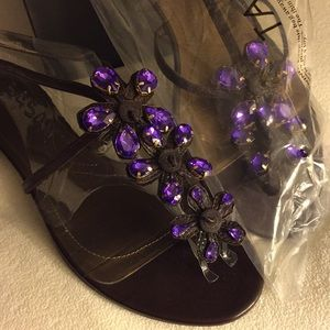 TAHARI Prudence Sandal Expresso Brown Purple Gems